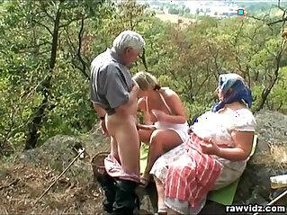 blonde, couple, MILF, old, public, voyeur