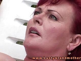 fingering, grandma, granny, mature, outdoor