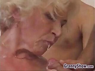 banged, creampie, grandma