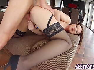 medias - Stocking clad brunette takes hard up the ass