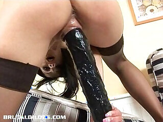 brutal, dildo, pussy, swallow, wet