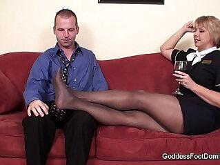 black, domination, dominatrix, foot fetish, footjob, panties, pantyhose
