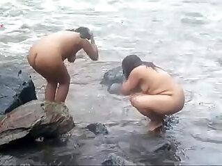 bathing, india, mature, naked, slim